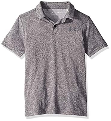 Under Armour Tour Tips Polo, Black Light Heather//Pitch Gray, Youth Medium
