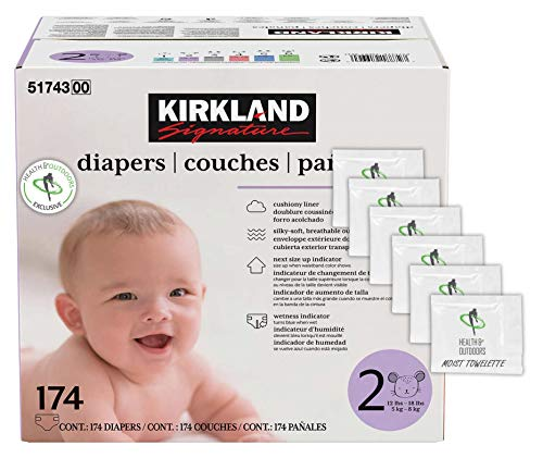 Kirkland Signature Diapers Size 2 (12lbs - 18 lbs) 174 Count W/Exclusive Health and Outdoors Wipes