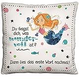 Die Geschenkewelt 45648 kleines Plüsch-Kissen mit Meerjungfrau, mit Pailletten und Metallic-Druck,...