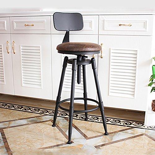 BY-lYJ Sgabello da bar American Vintage in ferro battuto con alzata Retro Old Bar Sgabello da bar Sgabello alto Sgabello Creative Chair (Colore : A)