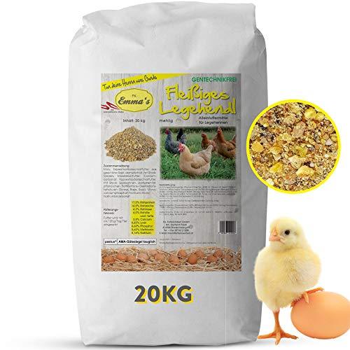 Emmas Hühnerfutter 20kg Fleißiges Legehendl | mehlige Form | Alleinfuttermittel für Legehennen | ohne Gentechnik | hergestellt in Österreich | ausgewogenes Futter für eine artgerechte Ernährung