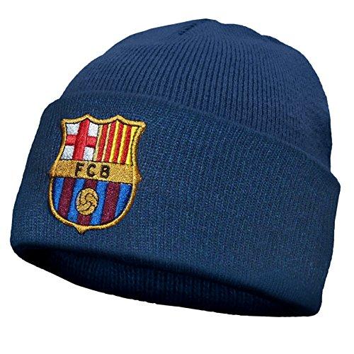 FC Barcelona - Kinder Beanie Strickmütze mit Vereinswappen - Offizielles Merchandise - Marineblau - Einheitsgröße