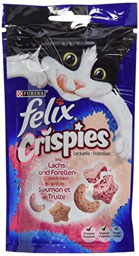 Felix Crispies Katzensnack, Lachs und Forellengeschmack, 1er Pack (1 x 45g)