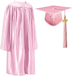 Unisex Preschool/Kindergarten Graduation Shiny Gown Cap Tassel Set with 2019 Gold Year Charms