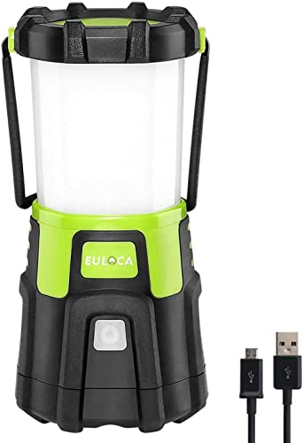 EULOCA LED Camping Lantern Rechargeable, Super Bright 1200lm Dimmable 4 Lighting Modes 4400mAh Portable Tent Light wi...