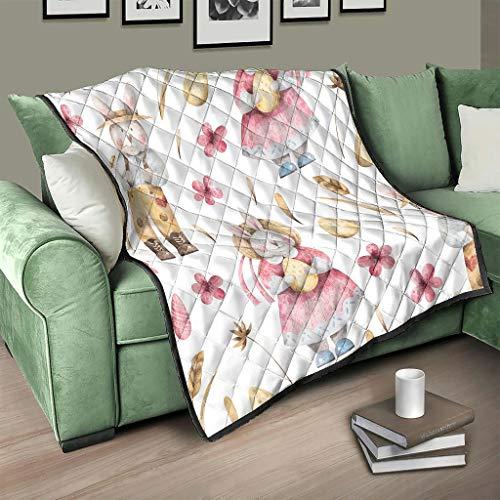 AXGM Colcha con diseño de conejo de Pascua y huevos de Pascua, manta acogedora con impresión 3D para dormitorio, color blanco, 230 x 260 cm