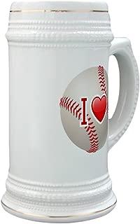 Stein (Glass Drink Mug Cup) I Love Baseball