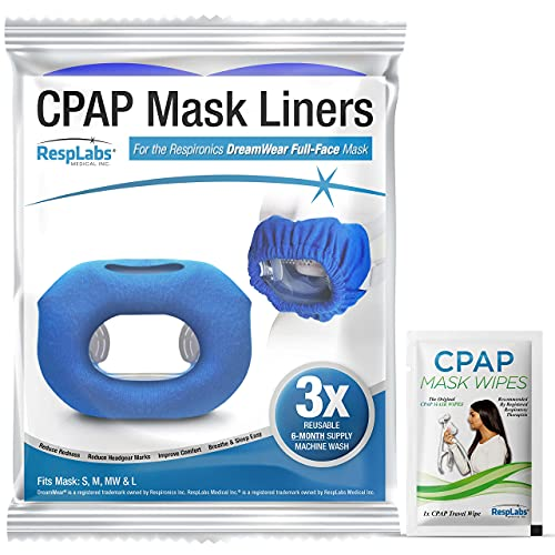 dream weaver cpap masks RespLabs CPAP Mask Liners - 3 Pack, Compatible with Philips Respironics DreamWear Full Face Masks and Cushion Sizes Small, Medium and Large.
