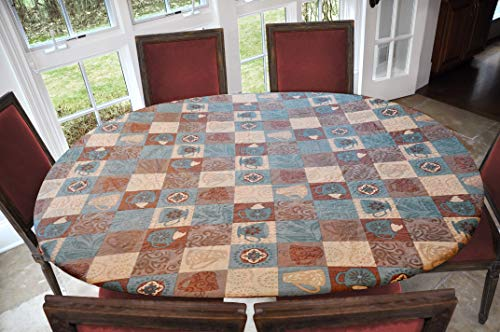 Covers For The Home Deluxe Elastic Edged Flannel Backed Vinyl Fitted Table Cover - Global Coffee Pattern - Oblong/Oval - Fits Tables up to 48' W x 68' L