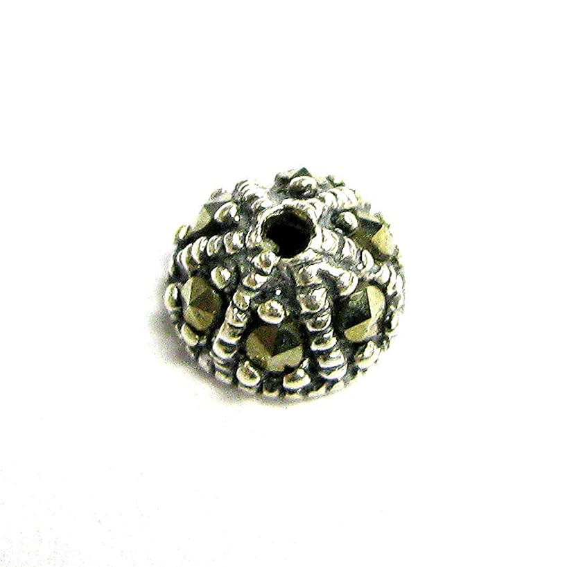 Dreambell 2 pcs .925 Sterling Silver Marcasite Round Bead Cap 6.5mm X 4mm/Findings/Antique