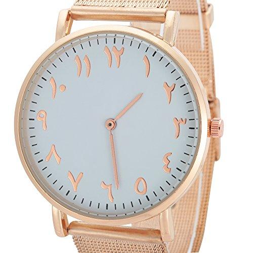 Reloj de pulsera analógico con esfera redonda, correa de acero inoxidable [#02], reloj de cuarzo para mujer