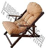 Poltrona Sedia Sdraio Relax in Legno Pieghevole Harmony Lusso Cuscino Super Imbottito H 100 CM Soggiorno Cucina Salone Divano (Sabbia)