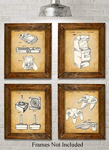 Original Video Games Patent Art Prints - Set of Four Photos (8x10) Unframed - Great for Game Room Decor