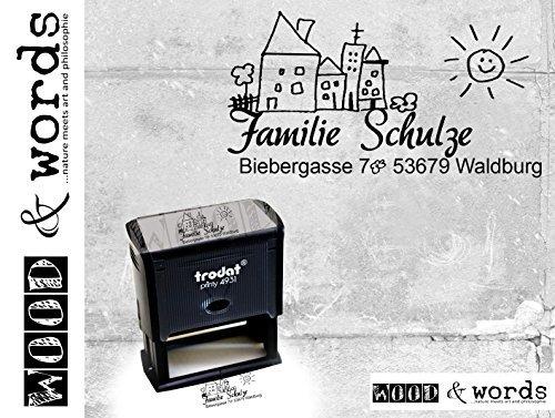 Stempel personalisiert Adressstempel Familienhaus III - Automatikstempel mit Stempelkissen und individueller Adresse Anschrift Haus - zAcheR-fineT
