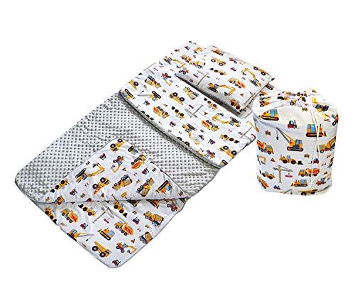 BabyBoom Schlafsack für Kleinkinder, Kindergarten, Zuhause, Bettwäsche für Kinderbett - MINKY + 100% Baumwolle -Gr. 75x140 cm + Kissen 40x35 cm inkl. Tasche, made in EU (Bagger - Minky grau)