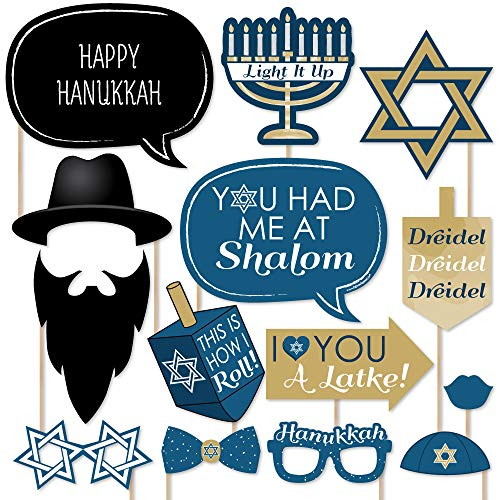 Big Dot of Happiness Happy Hanukkah - Hanukkah & Chanukah Photo Booth Props Kit - 20 Count