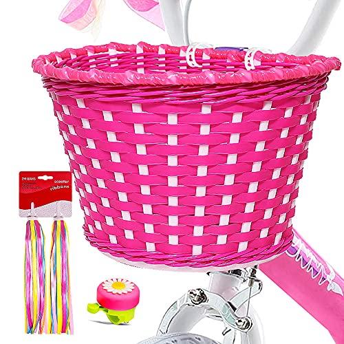 ANZOME Girl's Bike Basket, Front Handlebar Kid's Bicycle Basket with Bike Bells Streamers for Kids Chirlden Gift DIY Sets - Rose red