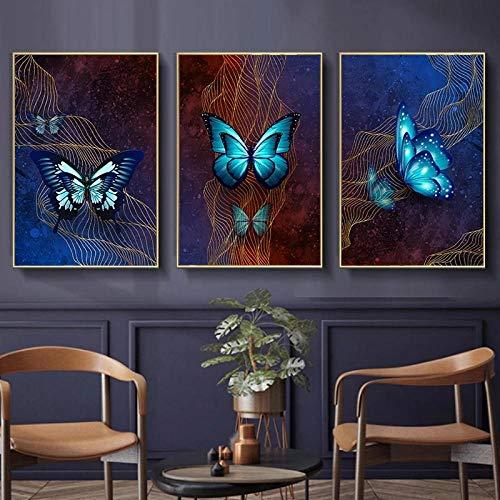 DecoracióN NavideñA Pintura En Lienzo Carteles De Animales Mariposa Azul Cuadro ArtíStico De Pared Cuadros Decorativos DecoracióN del Hogar-40x60cm Sin marcox3