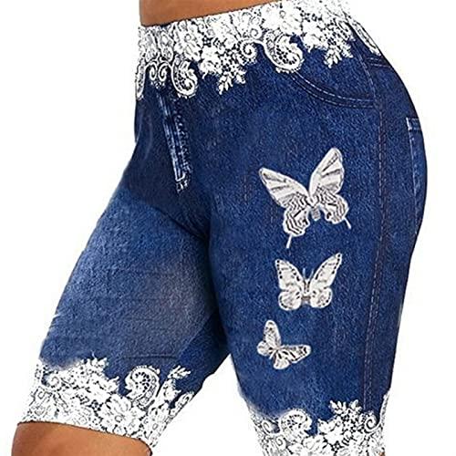 LSTGJ Empuje hacia Arriba Sin Costuras Jeans De Alta Cintura Impresa Leggings Mujeres Elástico Elástico Estirar Bien Tamaño Jogging (Color : Style A 1 Blue, Size : XXL.)