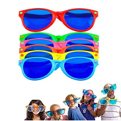 LATERN 6 Stücke Jumbo Plastik Sonnenbrillen Bunt Jumbo Brille für Kostüme hawaiisch Sandstrand Party Lieferung