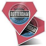 2 pegatinas de diamante de 7,5 cm – Rotterdam Países Bajos bandera divertida calcomanías para ordenadores portátiles, tabletas, equipaje, chatarra, nevera, regalo fresco #6048
