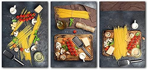 SHKHJBH Quadri su Tela Pittura Alimentare Arredamento Cucina Moderna Pasta cruda Spaghetti Italiani Home Wall Art Picture for Restaurant Dining3 Pezzi 40x60cm Senza Cornice
