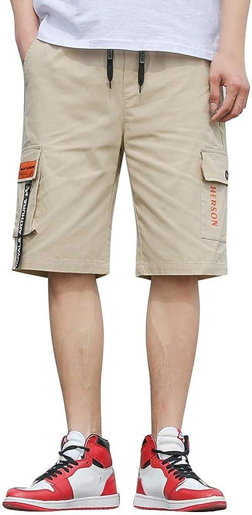 MODOQO Men's Cargo Shorts,Casual Fashion Slimd Fit Solid Color Elastic Waistband Shorts