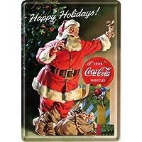 コカ・コーラ クリスマス Coca-Cola - Happy Holidays Santa/ポストカード はがき (ブリキ製)