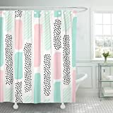 Abaysto Pattern Brush Strokes in Pastel Pink Mint Green Bathroom Decor Shower Curtain Sets with Hooks Polyester Fabric Great Gift