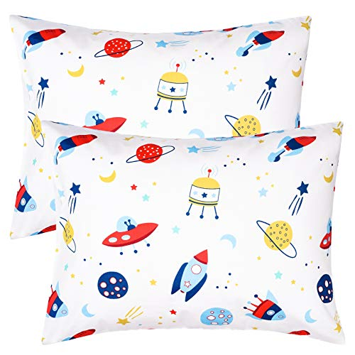 ZPECC Toddler Travel Pillowcases Set of 2, 14x19 Cotton Pillow Cases Fits Pillows Sized 13x18 or 14x19, Hypoallergenic Envelope Closure Kids Pillow Covers for Sleeping (Outer Space)