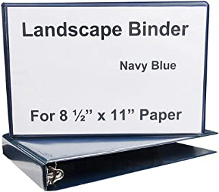 Landscape Binder Horizontally Formatted One Inch Ring Size,13.½-Inch Wide to Hold Standard Paper, Index Tabs and Sheet Protectors, Blue Vinyl