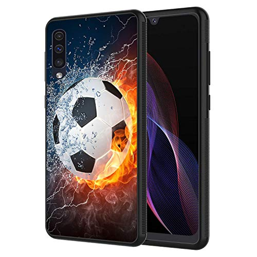 Galaxy A10E Case, Samsung A10E Case,Soccer Ball On Fire and Water Design Slim Anti-Scratch Shockproof TPU Back Protective Cover Case for Samsung Galaxy A10E
