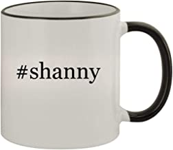 #shanny - 11oz Ceramic Colored Rim & Handle Coffee Mug, Black