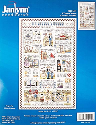 Janlynn 14 Count A Virtuous Woman Counted Cross Stitch Kit, 9-1/4-Inch by 15-1/4-Inch