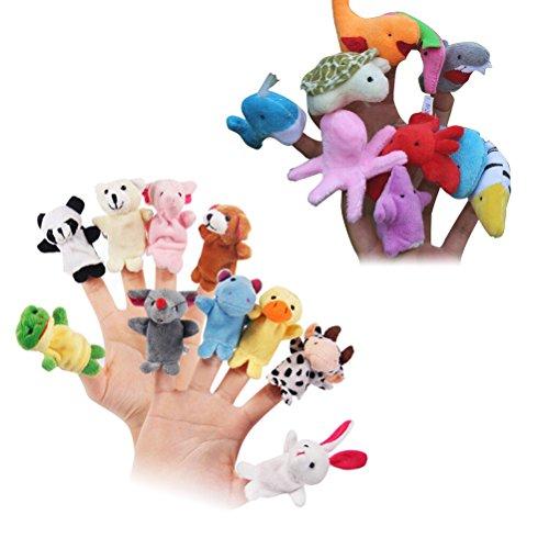 YeahiBaby 20pcs Marionette da dito animali marini Bambole da dito animali Storia Raccontare pupazzi Giocattoli educativi prescolari