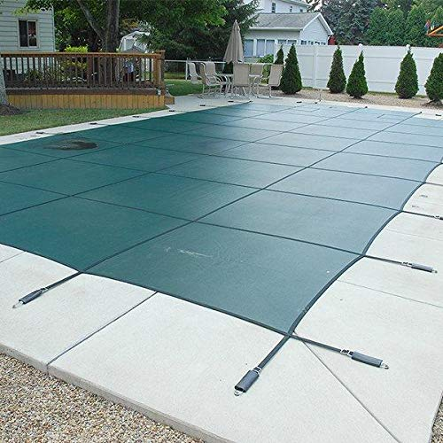 of mesh pool covers 16 x 32 Foot Rectangle Mesh Safety Pool Cover with 4 x 8 Foot Center End Step