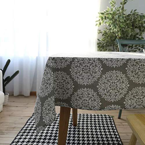 Creek Ywh tafelkleed van katoen voor buiten, grijs, retro-look, linnen tafelkleed, rond, koffietafel, papieren bloemen, grijs, 140 x 220 cm