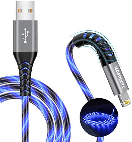 6 foot iPhone Charger MFi Certified LED Light Up USB to Lightning Cable Extra Long Fast Charging product image