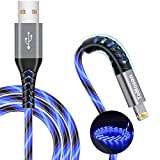 6 foot iPhone Charger, MFi Certified LED Light Up USB to Lightning Cable, Extra Long Fast Charging iPhone iPad Charger Cord Compatible with iPhone 12 11 Pro/Max/XR/XS Max/X/ 8/7 Plus, iPod More (Blue)