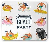 プールパーティー夏のビーチパーティータイポグラフィ楽しい水アクティビティサーフスイム、多色マウスパッド