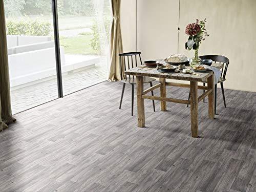 PVC Bodenbelag in dunklem Holz (9,95€/m²), kleines Muster
