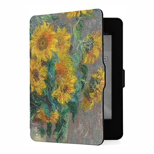 Funda para Kindle Paperwhite 1/2/3 Generation Bouquet Sunflowers de Claude Monet 1881 Funda Compatible con Kindle Paperwhite Funda de Cuero PU Funda de Cuero con activación/repos