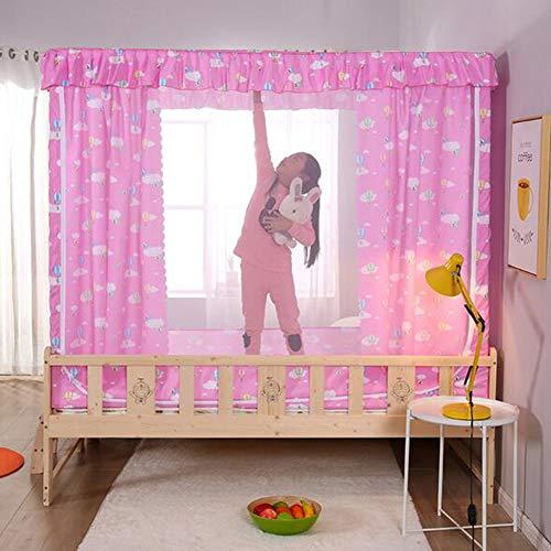 YONG Moskitonetz Bett,Schattierung Bett-Moskitonetz,Tragbares Reise-moskitonetz, DREI Türen-Moskito-Campingvorhang, Edelstahlhalterung,einfache Installation,60 * 120 * 130cm,Pink