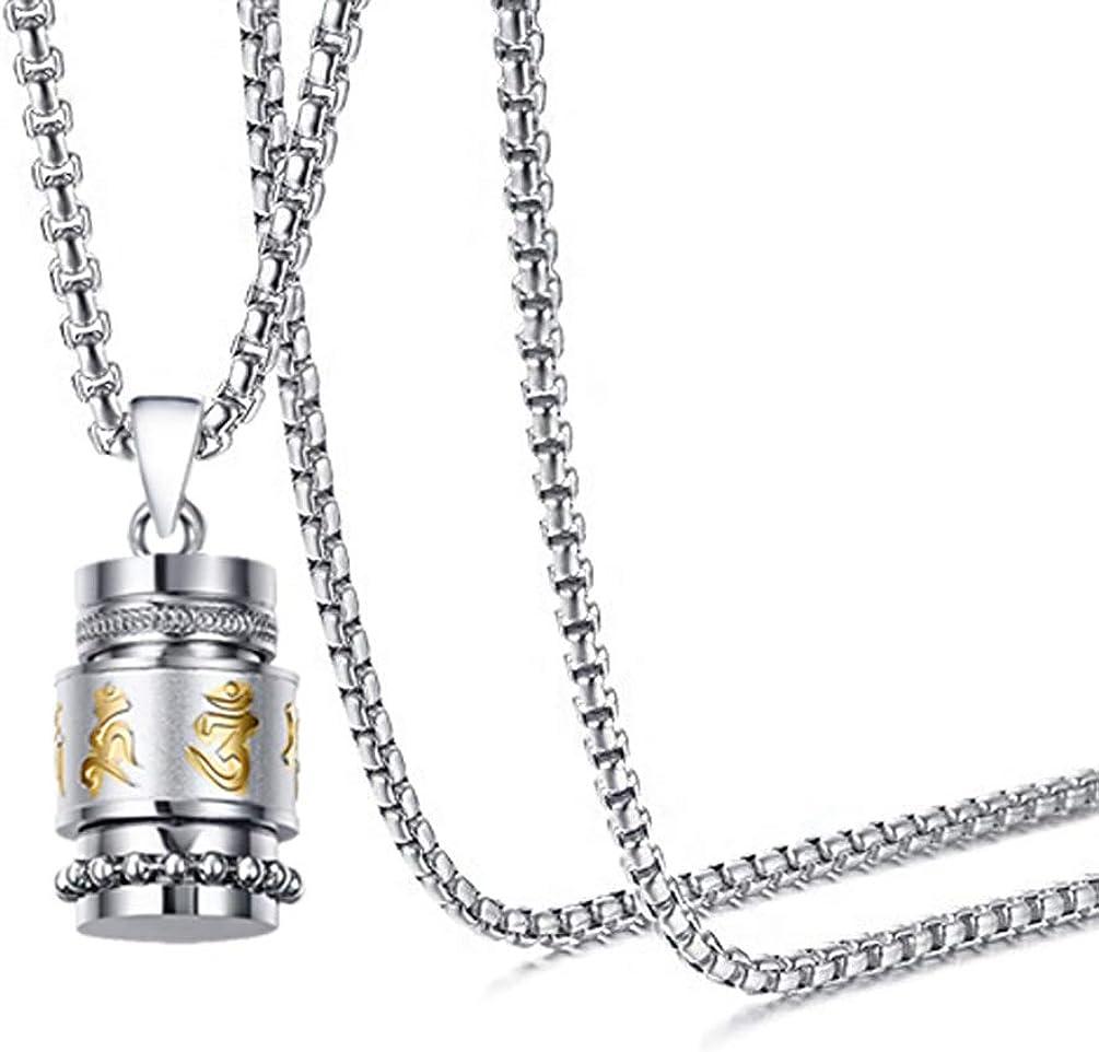 Mgutillart Religious Titanium Steel Prayer Wheel Pendant Locket Necklace
