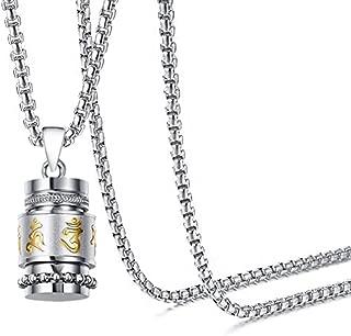 Towlimss Religious Titanium Steel Prayer Wheel Pendant Locket Necklace