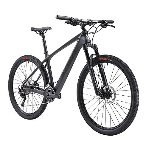 SAVADECK Bicicleta de montaña Deck1.0, 27.5/29 Pulgadas Conjunto de Ruedas Marco de Fibra de Carbono MTB Hardtail XC MTB con 312 36 Gang Mujeres Hombre Mountain Bike Hardtail (Negro-Gris, 27.5x19)
