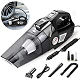 Uleete 2 in 1 Portable Car Vacuum Cleaner with Air Compressor Tire Inflator, 5.5KPA High Power Car Interior Vacuum Cleaner with LED Light, DC 12V Air Pump for Car Tires and Other Inflatables