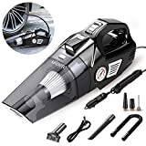 Car Vacuum, Uleete 4 in 1 Portable Car Vacuum Cleaner with Air Compressor Pump, DC12V High Power 5500PA Handheld Car Vacuum w/LED Light, 14.8FT Power Cord, for Wet/Dry Use, Tire Inflator
