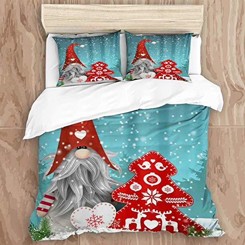 Easy Care 3 Pieces Duvet Cover Set & 2 Pillow Shams,Lovely Sprite Gnome Snowman Snow Reindeer Merry Christmas Tree Red Bells Snowflake,Stylish Luxury Quality Microfiber Quilt Cover