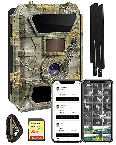 Yellowstone.ai 4G LTE Wireless Cellular Trail Camera with App for Deer Hunting & Security - Pictures & Videos On Any Phone (Verizon, AT&T, T-Mobile, Sprint & More) Includes SD Card & Strap - Wide Lens